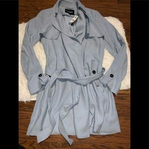 NWT express baby blue trench coat size xs